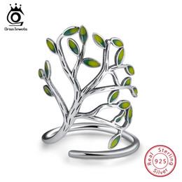 Orsa jóias on-line-ORSA JÓIAS Genuine 925 Mulheres Anel Verde Ramo De Árvore De Design Ajustável Jóias De Casamento Para As Mulheres Do Partido Presentes Atacado SR90