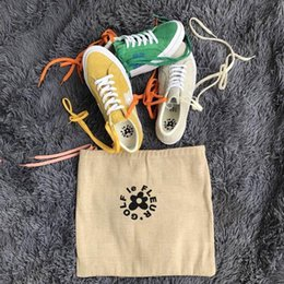 Wholesale Sneakers Bag - TTC The Creator x One Star Golf Ox Le Fleur Wang Green Yellow Beige Sunflower Casual Fashion Running Skate Shoes Sneakers (2 Laces,Dust Bag)