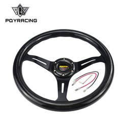 Wholesale Steering Wheel 14 Inch - PQY RACING - NEW 14 inch 350mm Carbon Fiber MOMO Style steering wheel automobile race modified PQY-SWL07CF