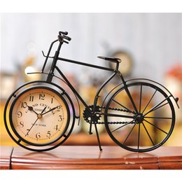 Wholesale Clock Bike - Bicycle Design Creative Desktop Clock Bike Watch Mute Iron Clocks Bedroom Table Time