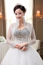 Wholesale beaded coats - 2018 Custom made Stand Collar Bridal Wraps & Jackets Lace Applique 3 4 Long Sleeves Rhinstones Beaded Romantic Wedding Cape Short Coats