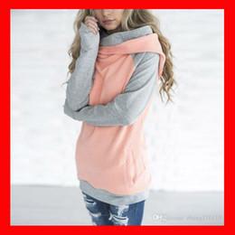 Wholesale Double Hoodie Woman - 2018 Double hooded Women hoodies sweatshirt Autumn Long Sleeve side zipper Hooded Casual Patchwork Hoodies Pullover femme