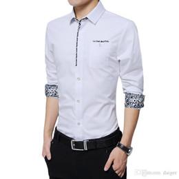 7c4971e5bb9 Wholesale- Mens Casual Shirts Long Sleeve Shirt Mens Dress Shirts Print  White Shirt Male Cotton Chemise Homme Floral Camisa Plus Size M-5XL