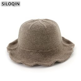 ffa08b2443b SILOQIN High Quality Brand Women s Cap Foldable New Bucket Hat Elegant  Simple Wool Knit Hats For Ladies Autumn Winter Female Cap