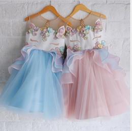 Wholesale Gauze Pink - Unicorn dress 2018 NEW arrival Hot selling summer Girls Sleeveless Unicorn Appliqued dress baby kids Girl's gauze lace dress 4 colors