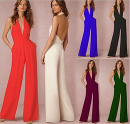 Wholesale women one leg - Women One Piece Backless V Neck Halter Sleeveless Wide Leg Elegant Formal Evening Jumpsuit For Wedding Party