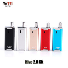 Wholesale Vaporizer Voltage Battery - 100% Original Yocan Hive 2.0 Kit Vaporizer Kit 650mAh Variable Voltage Battery Box Mod Concentrate Wax Oil 2 in 1 Atomizer Genuine