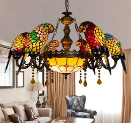 Wholesale parrot chain - Stained Glass Pendant Lamp Crystal Art Glass Birds Pendant Lights Living Room Lamps Parrot Retro Pendant Light