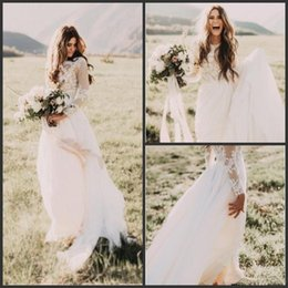 Wholesale New Style Bridal Gowns - 2018 New Elegant Vintage Secret Country Style Lace Wedding Dresses with Long Sleeves Back Zipper Modest Sweep Train Bridal Gowns 343