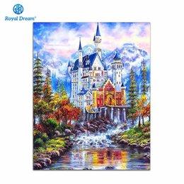 Pintura a óleo paisagem castelo on-line-Home Decor Imagem Castelo Pintura A Óleo Por Números Paisagem Fotos Pintura Da Lona Para Sala de estar Arte Da Parede