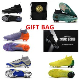 Wholesale purple ankle boots - GIFT BAG 20th anniversary Soccer Cleats Mercurial Superfly VI 360 CR7 SuperflyX 6 Elite SG AC Soccer Shoes High Ankle Football Boots