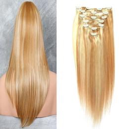 2019 613 27 cabelos virgens Grampo louro de 27/613 em extensões naturais do grampo do cabelo do Virgin do cabelo humano das extensões 7pcs / Set do cabelo para a extensão do cabelo desconto 613 27 cabelos virgens