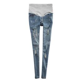 Wholesale trouser jeans for pregnant women - Denim Jeans Maternity Pants For Pregnant Women Clothes Nursing Pregnancy Pencil Pants Strench Prop Belly Jeans Gravidas Trousers