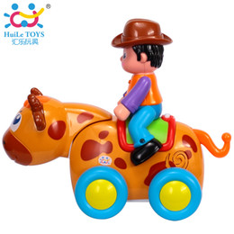 Wholesale Battery Operated Toy Animals - HUILE TOYS 838B Baby Toys Electric Wild Bullfight with Music & Lights Kids Crawl Styling Toy Children Keys Teach Shape Animal