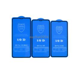 Protetor de carbono on-line-100 pcs 10d protetor de tela de cobertura completa 9 h protetor de tela de fibra de carbono de vidro temperado para iphone x 6 6 s 7 8 plus xs max
