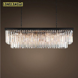 El mejor precio American Country Crystal Chandelier Dining Creative Crystal Lámpara colgante rectangular LED Lighting RH Chandelier desde fabricantes