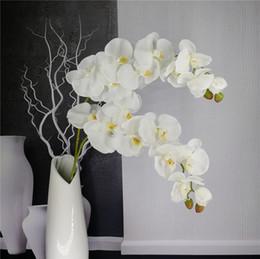 Piante di fiori di orchidee online-Artificiale Farfalla Orchidea Ramo Fiore Decorazione Real Touch Fiori Simualtion Piante Wedding Home Office Party Decor