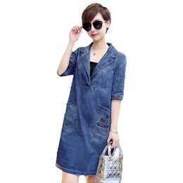 Wholesale Women Summer Jeans Dress - Fashion Vintage Plus Size M-5XL Women Denim Dress 2018 Summer Casual Short Sleeve Jeans Dresses Femme Mini Vestidos z673