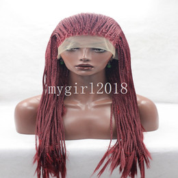 Wholesale Burgundy Long Half Wig - Fashion style Heat Resistant Burgundy Red Micro Braided Hair Wig Half Hand Tied Synthetic Lace Front Natural Long Reddish Micro Braid Wig