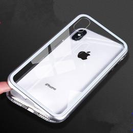 Etui de téléphone magnétique Etui en métal + verre trempé pour iPhone 7/8 7plus / 8plus pour iPhone X avec absorption des chocs facile à installer Conception ? partir de fabricateur