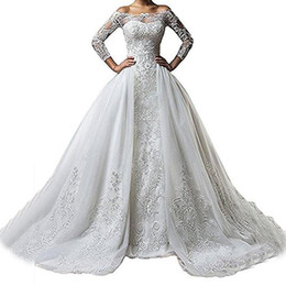 Deutschland Weinlese-Bateau-Ansatz-Spitze-lange Hülsen-Hochzeits-Kleider 2018 mit abnehmbarem Rock plus Größe Illusion 2018 Zug vestido de Noiva Brautkleid cheap vintage wedding dresses detachable skirt Versorgung