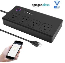 Wholesale Plug Remote - US WiFi Smart Socket Strip Surge Protector 4 Outlet 4 USB 1.4m Cord Remote Control Switch Power Plug Smart Home Automation