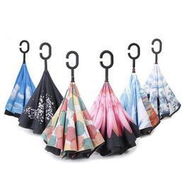 Wholesale Umbrella Protection - High Quality Windproof Reverse Folding Umbrella Double Layer Inverted Umbrella Inside Out Rain Protection C Handle Hands Umbrella