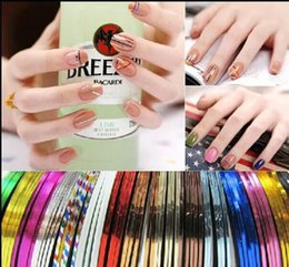 Wholesale Color Tape Rolls - Nail Art Decoration Stickers Decals nail tools Fashion 10000pcs Metallic Yarn Line Mix Color Rolls Striping Tape
