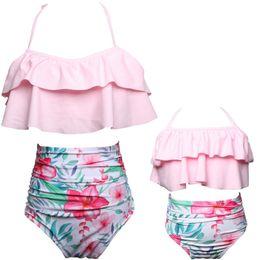 Wholesale Wholesale Girls Swimsuits - Mother Daughter Bikini Mom Girl Floral Print Swimming clothes Women Kids Swimwear Family Match Swimsuit Bathing Beachwear D818