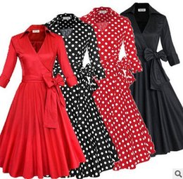Wholesale Polka Dot Swing - Audrey Hepburn big swing gown dress Fall 50s 60s dresses Casual Dresses Draped FREE SHIPPING red white black