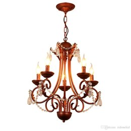 Wholesale Vintage Art Deco Bronze - American classical iron crystal pendant lights K9 crystal chandelier lighting fixtures purple bronze chandeliers home decor 5 6 8 heads