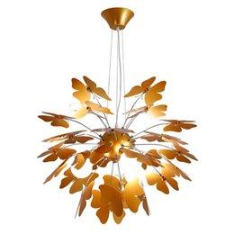 Деревенское освещение онлайн-Country Rustic Golden Butterfly Столовая Подвесные Светильники Ресторан Творческий Подвесной Светильник Nordic Гостиная Подвесной Светильник