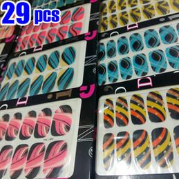 Tourbillons de décoration en Ligne-29pcs Design mixte Wrap Wrap Wraps Nail Art autocollant Swirl Full Strip bande de décoration Decal POUR NATUREL / FAUX NAILS Conseils 2018 NOUVEAU
