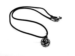 schwarzer rosafarbener blumenanhänger Rabatt 12pc-Antique Silver Black Rose Blütenblatt Halskette Schönheit und Tier Sunflower Pflanzen Halskette Chrysantheme Leder Seil Anhänger Halskette