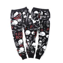 skull print harem pants Canada - Mens Elastic Waist Pencil Pants High Street Pants Men Sweatpants Hip Hop Streetwear Skull Letter Print Trousers