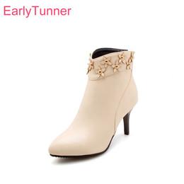 petites chaussures 32 Promotion Brand New Respirant Abricot Femmes Noires Cheville Floral Bottes Lady Nude Chaussures Spike Heels EK811 Plus Grande Petite Taille 10 32 43 47