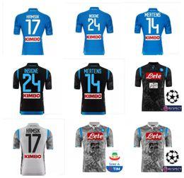 Uniformes de futbol con descuento online-Nueva camiseta Napoli Jersey 2018 de fútbol Camiseta de fútbol Hamsik Maradona Uniforme Callejon Mertens Insigne Descuento 18 19 TOP Thai Naples 2019