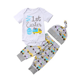 54cf244de8a1 Easter Baby Boy Girl Clothes Set Newborn Infant Boys Girls Summer Short  Sleeve Bodysuits Pants Hat Eggs Cotton Outfits 3PCs