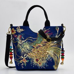 2019 chinese bordado bolsas Características culturais chinesas Senhoras Bolsa De Lona Senhoras Bordadas Crossbody Bag Mulheres Ombro Mulheres Bolsa chinese bordado bolsas barato