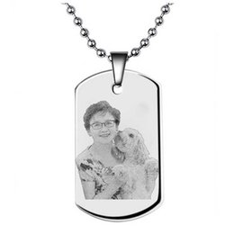 custom stainless steel dog tags Promo Codes - Custom Dog Tags Military Army ID Card Photo Engrave Pendant Necklace   Keychain Men Stainless Steel Dog Tags Homens Personalized NL2669