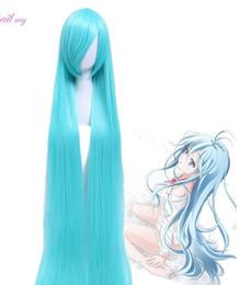 Wholesale miku wigs - Miku Erio Nefertari Super Long Straight Wig Light Sky Blue Anime Cosplay Wigs