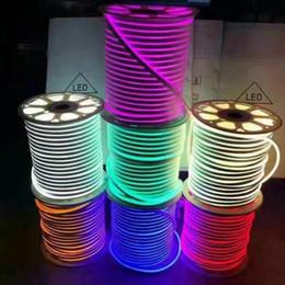 2019 24v неон DC 12V 24V LED Neon Rope light SMD 2835 120LEDs/m Waterproof flexible Soft strip BAR Lights 1m 5m 20m 50m 100m дешево 24v неон