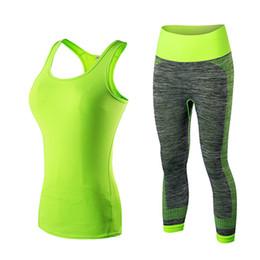 Wholesale Female Sportswear Suit - Quick Dry sportswear Gym Leggings Female T-shirt Costume Fitness Tights Sport Suit Green Top Yoga Set Women's Tracksuit