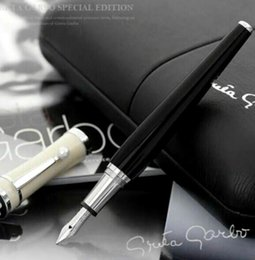 Wholesale fountain pen collection - Luxury Greta Garbo Collection Pen black resin and white Pearl clip stationery school office Monte brands writing Fountain pen ink pens