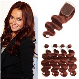 # 33 Dark Auburn Virgin Indian paquetes de cabello humano ofertas con cierre superior de la onda del cuerpo de cobre rojo 4x4 Lace closure con tejidos extensiones de trama desde fabricantes