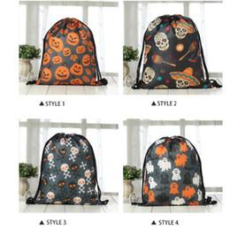 Tessuto disegnato online-Tote Bags di Halloween Decorazioni Disegnare Pocket Handle Pumpkin Shopping Bags Sacchetti di regali di Halloween Borsa in tessuto non tessuto di Halloween