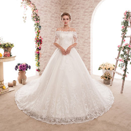 corset half sleeve wedding dress Coupons - New designer Princess arabic church ball gown wedding dresses plus size off shoulder half sleeve bateau vintage lace corset bridal gowns