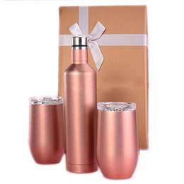 wine bottle travel Canada - 500ml Stainless Steel Red Wine Bottle With Egg Cups Double Wall Insulated Shatterproof Outdoor Wine TumblerTravel Mug Wine Glass Set 3pcs