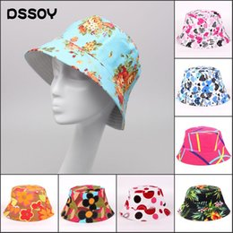 Wholesale Green Flower Street - Designer Cotton Canvas Foldable UA Protection Bucket Hat For Adults Ladies Womens Packable Summer Sun Flower Print Beach Caps Fishing Visors