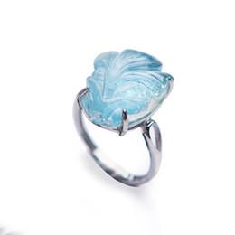 anillos de moda color aguamarina Rebajas 925 Plata Esterlina Anillos de Moda Joyería Mujeres Hombres Peces Forma Genuino Azul Natural Aguamarina Anillo Tamaño Ajustable